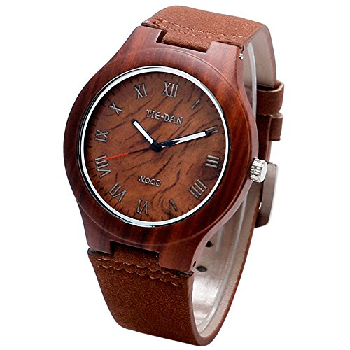 Neue Version yisuya Holz Bambus Herren roemischen Zahl Zifferblatt Uhren Light Fashion Frauen Armbanduhr Braun Leder Armband