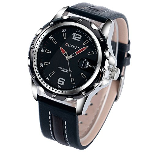 yisuya Herren Datum Wasserdicht Quarz Business Uhren 24 12 Stunden Display schwarz Echt Leder Armband Wasserdicht