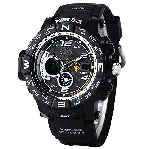 yisuya Uhr fuer Herren Sport 3 ATM Dive Wasserdicht Chronograph Digital Blacklight Military Multifunktional Armbanduhren