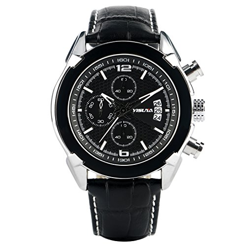 yisuay Herren Quarz Uhren Chronograph Schwarz Leder Militaer Sport Armbanduhr