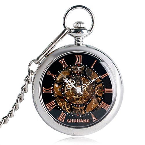yisuya schwarz Zifferblatt Kristallsteinen Open Face Mechanische Skelett Pocket Taschenuhr Kette Herren Geschenke