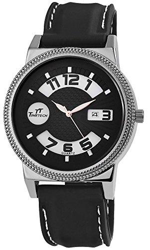 TimeTech mit Silikonarmband Silberfarbig Schwarz Anthrazit