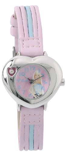 Barbie B462 Maedchen Armbanduhr Analog Zifferblatt Silber Armband Kunstleder violett