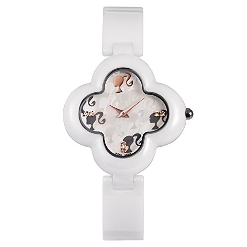 Barbie Damenuhr blumenfoermiges Zifferblatt Keramik Armbanduhr Quarz Analog Uhr Weiss W50260L 01A
