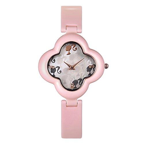Barbie Damenuhr blumenfoermiges Zifferblatt Keramik Armbanduhr Quarz Analog Uhr Pink W50260L 02A