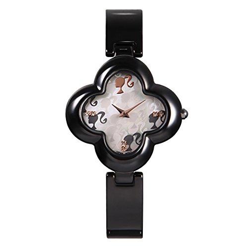 Barbie Damenuhr blumenfoermiges Zifferblatt Keramik Armbanduhr Quarz Analog Uhr Schwarz W50260L 03A