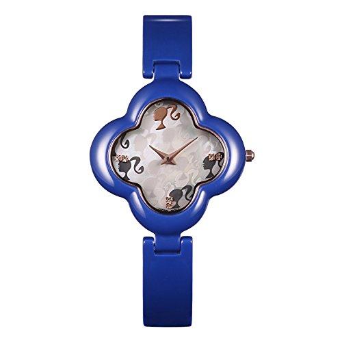 Barbie Damenuhr blumenfoermiges Zifferblatt Keramik Armbanduhr Quarz Analog Uhr Blau W50260L 04A