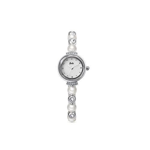 Barbie Armband mit Stahl und Perlen Armbanduhr Quarz Analog Uhr Silber Weiss B50551L 01A