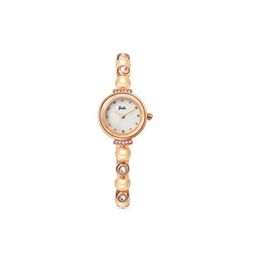 Barbie Armband mit Stahl und Perlen Armbanduhr Quarz Analog Uhr Gold Weiss B50551L 02A