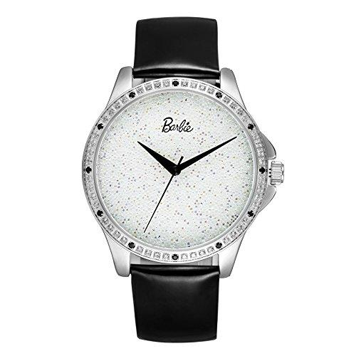 Barbie Leder Armband Kupfer Armbanduhr Quarz Analog Uhr Weiss Schwarz W50476L 01A