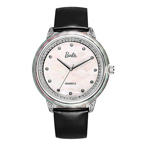 Barbie Damenuhr Leder Armband Kupfer Armbanduhr Quarz Analog Uhr Schwarz W50481L 01A