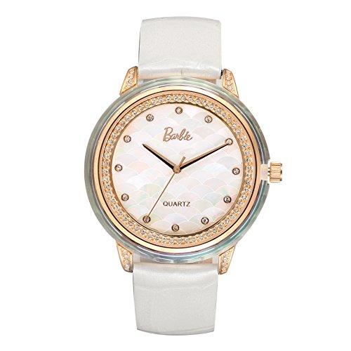 Barbie Damenuhr Leder Armband Kupfer Armbanduhr Quarz Analog Uhr Weiss W50481L 02A