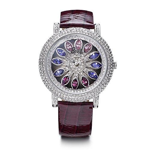 Barbie Damenuhr Leder Armband Kupfer Armbanduhr Quarz Analog Uhr Violett W50483L 01A