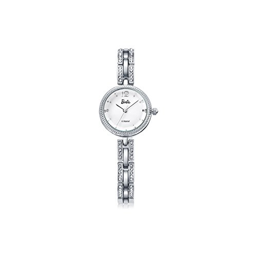 Barbie Damenuhr dekorativer Armband mit Strass Armbanduhr Quarz Analog Uhr Silber Weiss B50582L 01A
