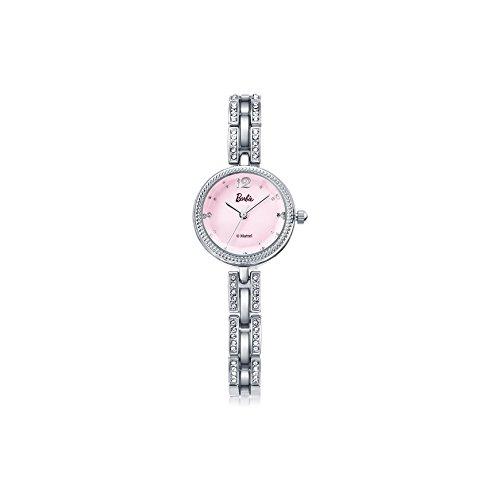 Barbie Damenuhr dekorativer Armband mit Strass Armbanduhr Quarz Analog Uhr Silber Pink B50582L 02A