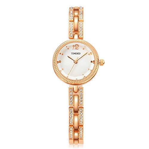 Barbie Damenuhr dekorativer Armband mit Strass Armbanduhr Quarz Analog Uhr Gold Weiss B50582L 03A