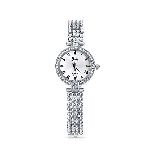 Barbie Damenuhr dekorativer Armband mit Strass Armbanduhr Quarz Analog Uhr Silber Weiss B50583L 01A