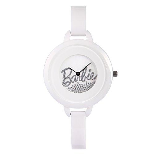 Barbie Damenuhr dekorativer Armband Keramik Armbanduhr Quarz Analog Uhr Weiss W50266L 01A