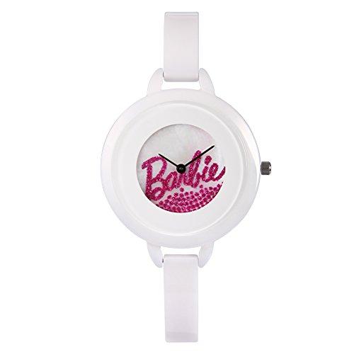 Barbie dekorativer Armband Keramik Armbanduhr Quarz Analog Uhr Weiss W50266L 02A