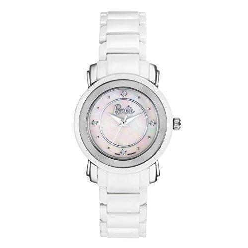 Barbie dekorativer Armband Keramik Armbanduhr Quarz Analog Uhr Weiss W50330L 01A