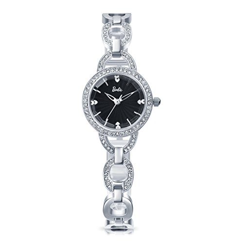 Barbie Damenuhr Edelstahl Armband mit Strass Armbanduhr Quarz Analog Uhr Silber Schwarz B50549L 02A
