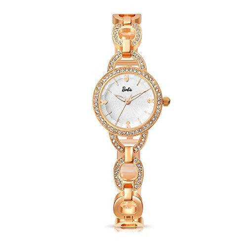 Barbie Damenuhr Edelstahl Armband mit Strass Armbanduhr Quarz Analog Uhr Gold Weiss B50549L 03A