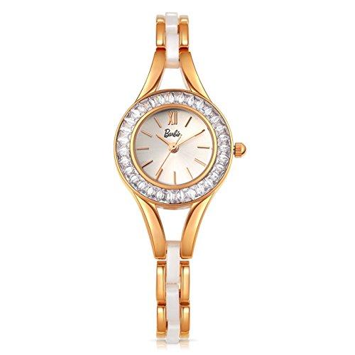 Barbie Damenuhr Edelstahl Armband mit Strass Armbanduhr Quarz Analog Uhr Weiss Gold B50550L 01A