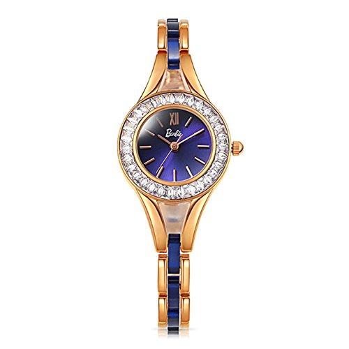 Barbie Edelstahl Armband mit Strass Armbanduhr Quarz Analog Uhr Gold Blau B50550L 02A