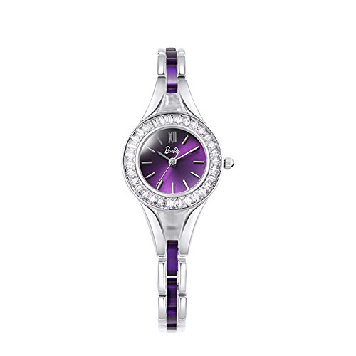 Barbie Edelstahl Armband mit Strass Armbanduhr Quarz Analog Uhr Silber Purpur B50550L 03A