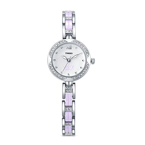 Barbie Edelstahl Armband mit Strass Armbanduhr Quarz Analog Uhr Silber Lila B50580L 03A