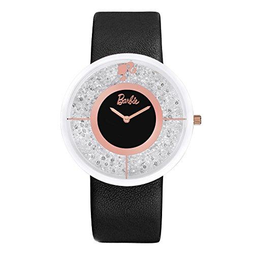 Barbie Damenuhr Leder Armband Keramik Zifferblatt Armbanduhr Quarz Analog Uhr Schwarz W50306L 01A