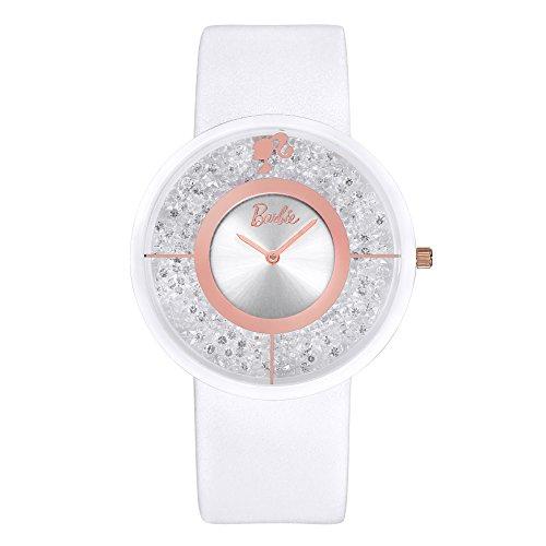 Barbie Damenuhr Leder Armband Keramik Zifferblatt Armbanduhr Quarz Analog Uhr Weiss W50306L 02A