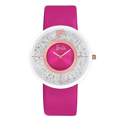 Barbie Damenuhr Leder Armband Keramik Zifferblatt Armbanduhr Quarz Analog Uhr Pink W50306L 03A