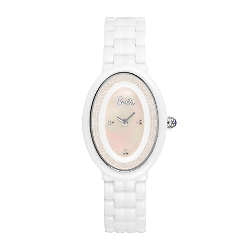 Barbie Damenuhr ovales Zifferblatt Keramik Armbanduhr Quarz Analog Uhr Pink Weiss W50331L 01A