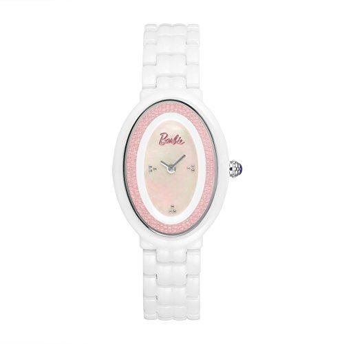 Barbie Damenuhr ovales Zifferblatt Keramik Armbanduhr Quarz Analog Uhr Weiss W50331L 02A
