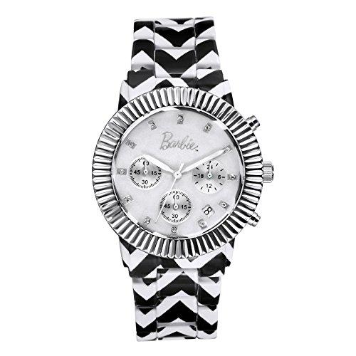 Barbie dekorativer Armband Legierung Armbanduhr Quarz Chronograph Analog Uhr Schwarz Weiss W50316L 01A