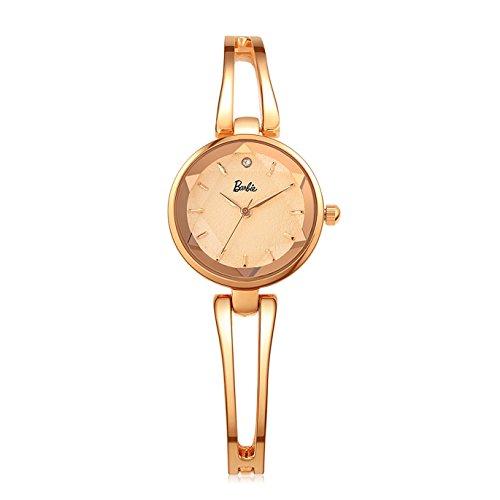 Barbie Damenuhr dekorativer Armband Legierung Armbanduhr Quarz Analog Uhr Gold B50553L 03A