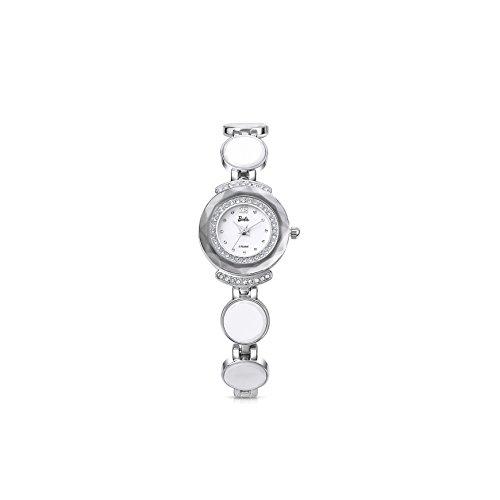 Barbie Damenuhr dekorativer Armband Legierung Armbanduhr Quarz Analog Uhr Silber Weiss B50581L 01A