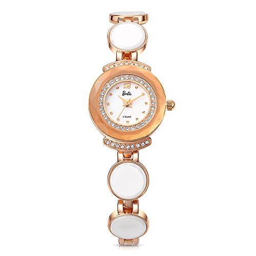 Barbie dekorativer Armband Legierung Armbanduhr Quarz Analog Uhr Gold Weiss B50581L 02A