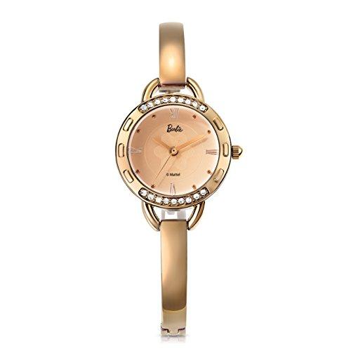 Barbie dekorativer Armband Legierung Armbanduhr Quarz Analog Uhr Gold B50845L 02A