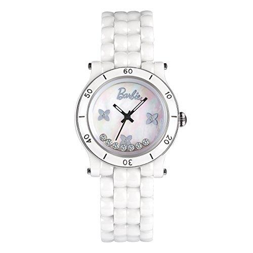 Barbie Damenuhr dekoratives Zifferblatt Keramik Armbanduhr Quarz Analog Uhr Weiss W50317L 01A