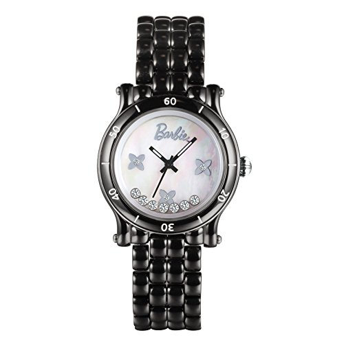 Barbie dekoratives Zifferblatt Keramik Armbanduhr Quarz Analog Uhr Schwarz W50317L 02A