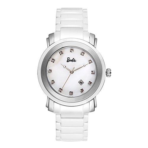 Barbie dekoratives Zifferblatt Keramik Armbanduhr Quarz Analog Uhr Weiss W50357L 01A