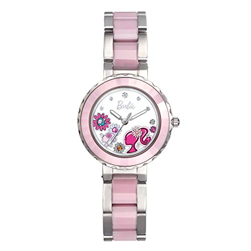 Barbie dekoratives Zifferblatt Keramik Armbanduhr Quarz Analog Uhr Pink W50359L 01A