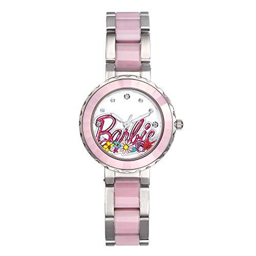 Barbie Damenuhr dekoratives Zifferblatt Keramik Armbanduhr Quarz Analog Uhr Pink W50359L 02A