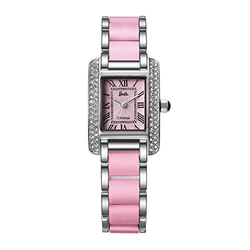 Barbie Damenuhr quadratisches Zifferblatt Legierung Armbanduhr Quarz Analog Uhr Pink Weiss B50585L 01A