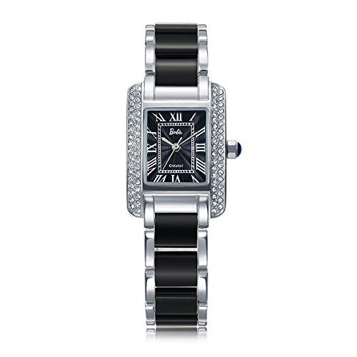 Barbie Damenuhr quadratisches Zifferblatt Legierung Armbanduhr Quarz Analog Uhr Schwarz B50585L 02A