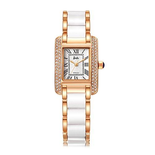 Barbie Damenuhr quadratisches Zifferblatt Legierung Armbanduhr Quarz Analog Uhr Gold Weiss B50585L 03A