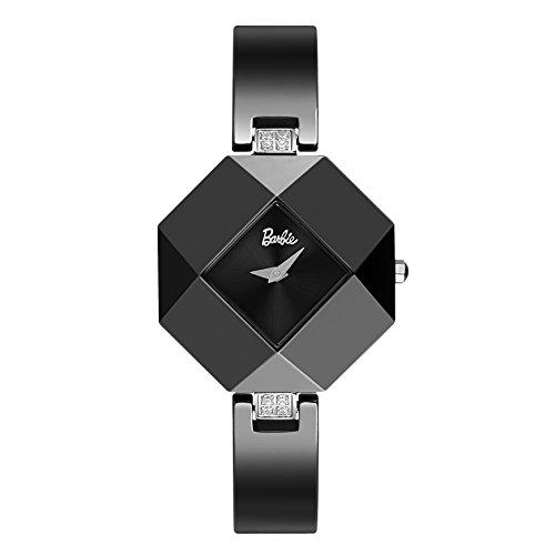 Barbie rautenfoermiges Zifferblatt Keramik Armbanduhr Quarz Analog Uhr Schwarz W50360L 01A