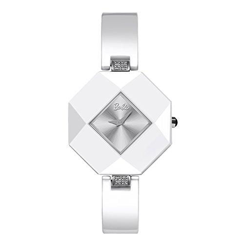 Barbie rautenfoermiges Zifferblatt Keramik Armbanduhr Quarz Analog Uhr Weiss W50360L 02A